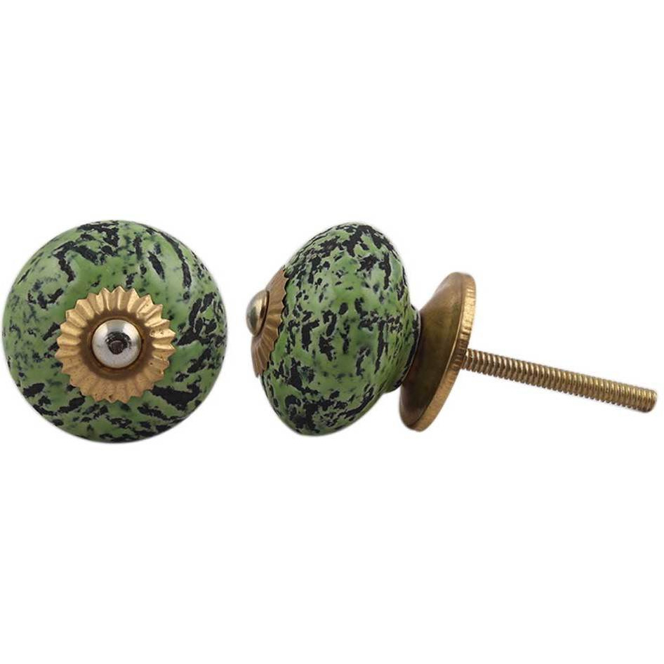 IndianShelf Handmade 6 Piece Ceramic Green Etched Vintage Furniture Knobs/Wardrobe Pulls