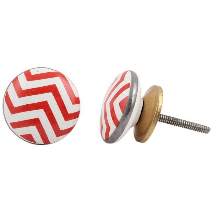 IndianShelf Handmade 6 Piece Ceramic Red Stripe Flat Vintage Furniture Knobs/Wardrobe Pulls