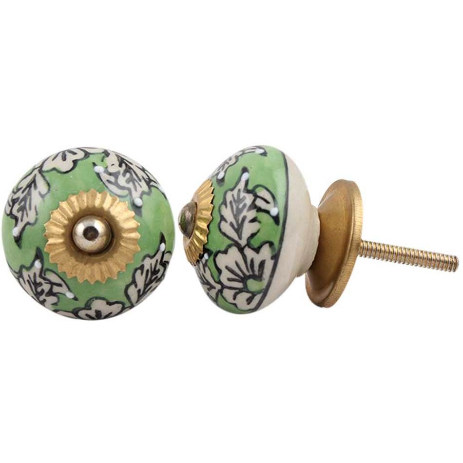 IndianShelf Handmade 6 Piece Ceramic Green Leaf Floral Vintage Furniture Knobs/Wardrobe Pulls