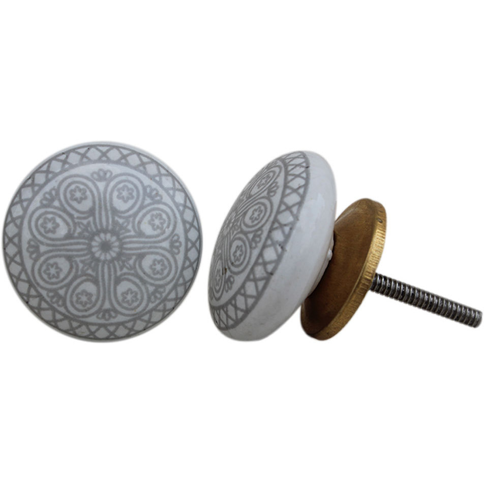 IndianShelf Handmade 6 Piece Ceramic Grey Wheel Flat Vintage Furniture Knobs/Wardrobe Pulls