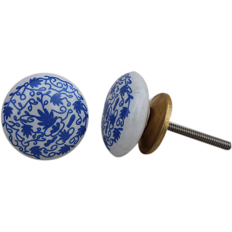 IndianShelf Handmade 6 Piece Ceramic Blue Floral Flat Vintage Furniture Knobs/Wardrobe Pulls