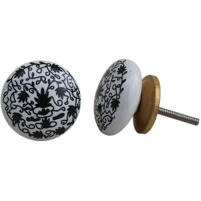 IndianShelf Handmade 6 Piece Ceramic Black Floral Flat Vintage Furniture Knobs/Wardrobe Pulls