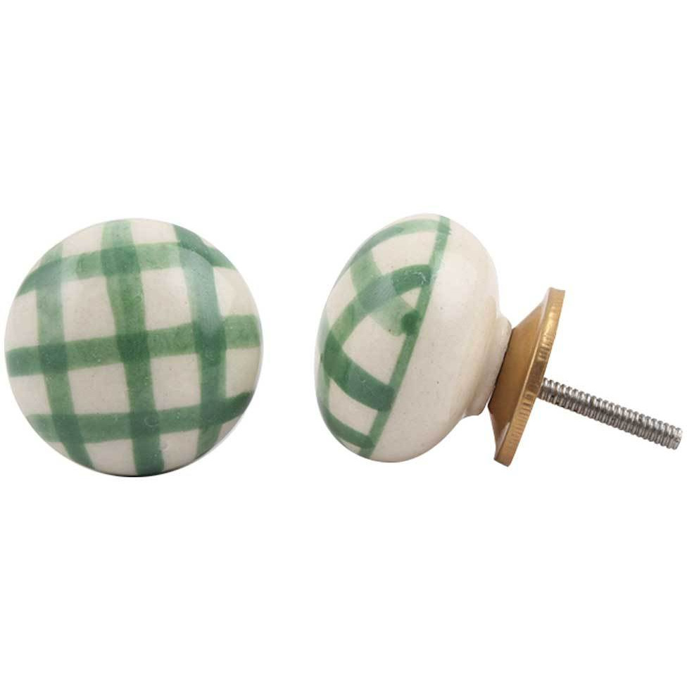IndianShelf Handmade 6 Piece Ceramic Green Checked Flat Vintage Furniture Knobs/Wardrobe Pulls