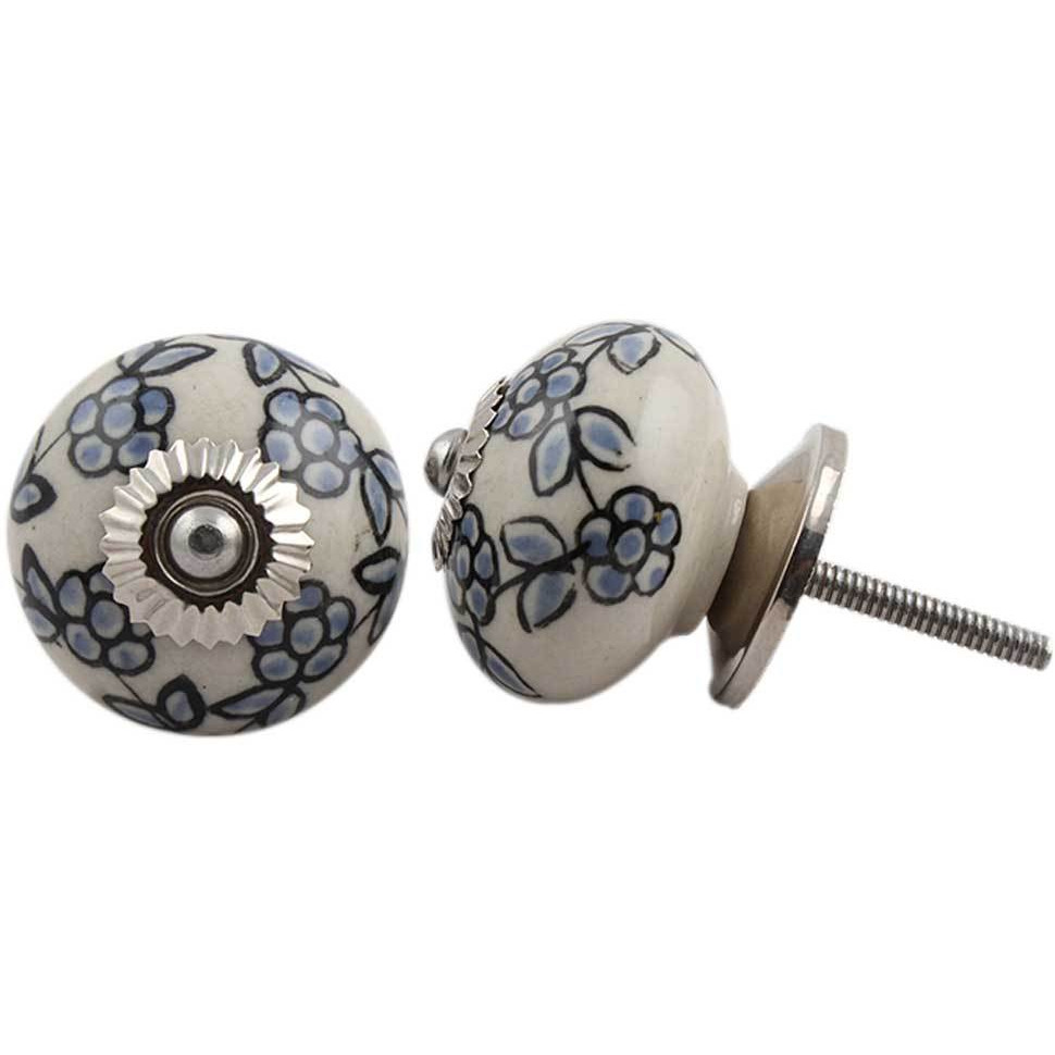 IndianShelf Handmade 6 Piece Ceramic Turquoise Tiny Floral Decorative Dresser Knobs/Cabinet Pulls