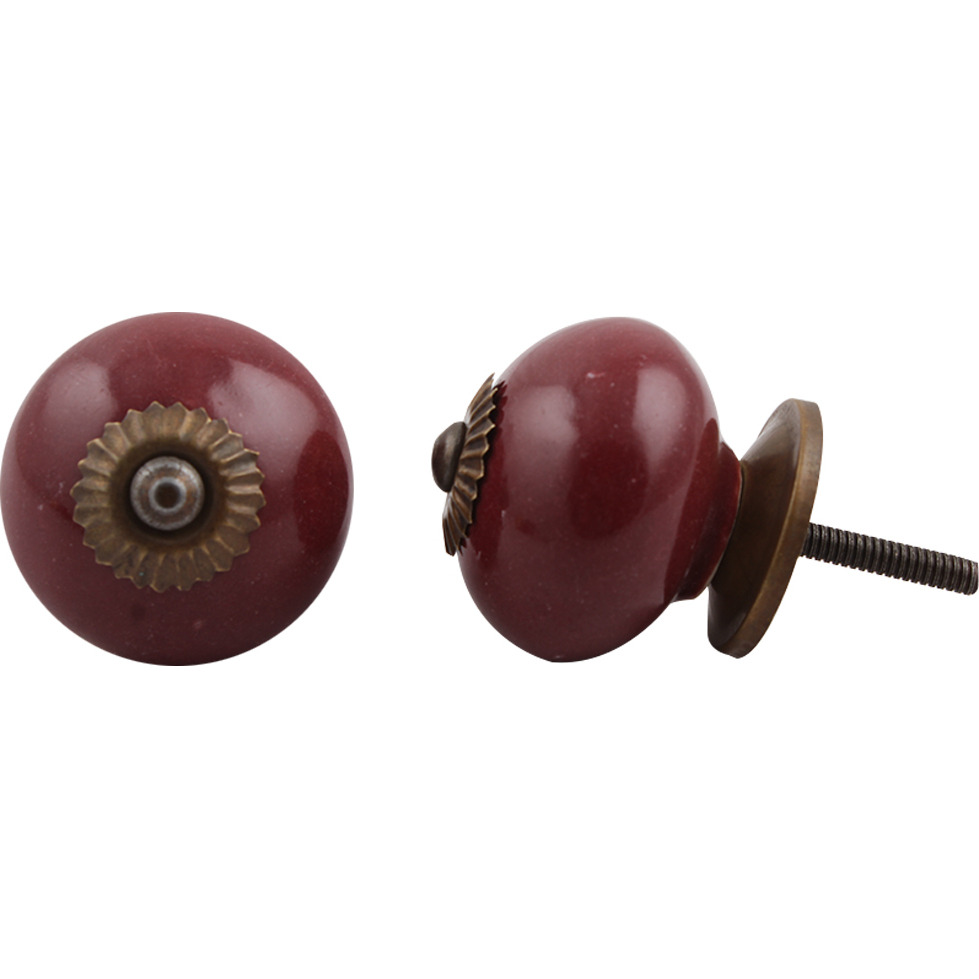 IndianShelf Handmade 6 Piece Ceramic Cherry Round Solid Decorative Dresser Knobs/Cabinet Pulls