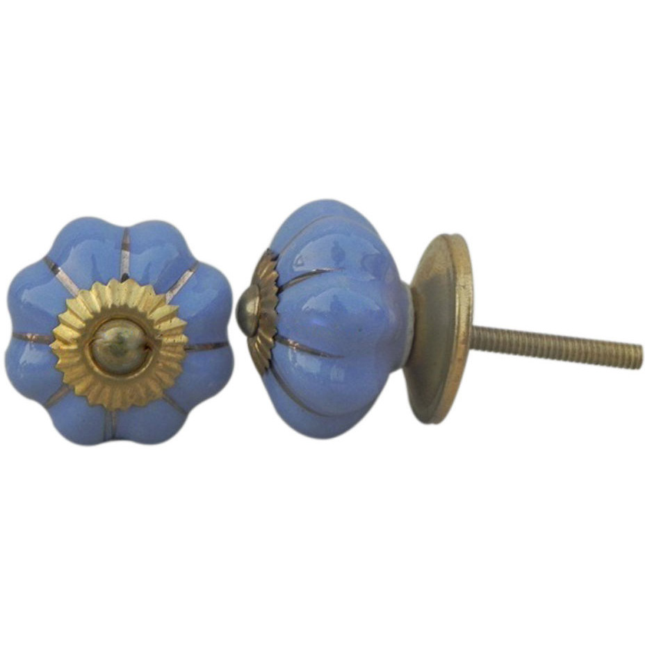 IndianShelf Handmade 6 Piece Ceramic Blue Solid Vintage Furniture Knobs/Wardrobe Pulls