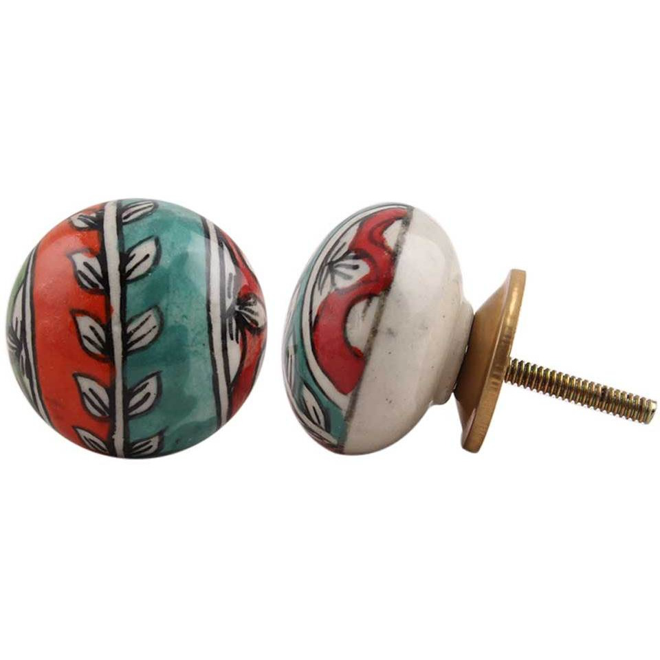 IndianShelf Handmade 6 Piece Ceramic Multicolor Flat Vintage Furniture Knobs/Wardrobe Pulls