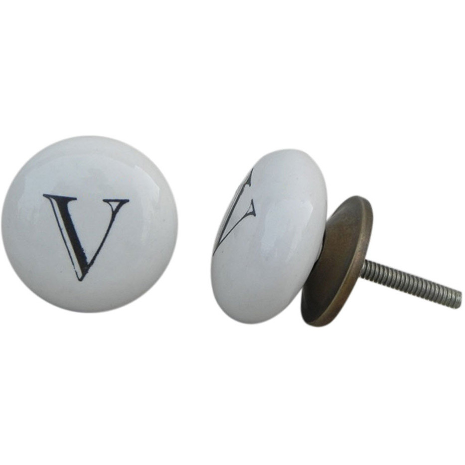 IndianShelf Handmade 6 Piece Ceramic White V Alphabet Decorative Dresser Knobs/Cabinet Pulls