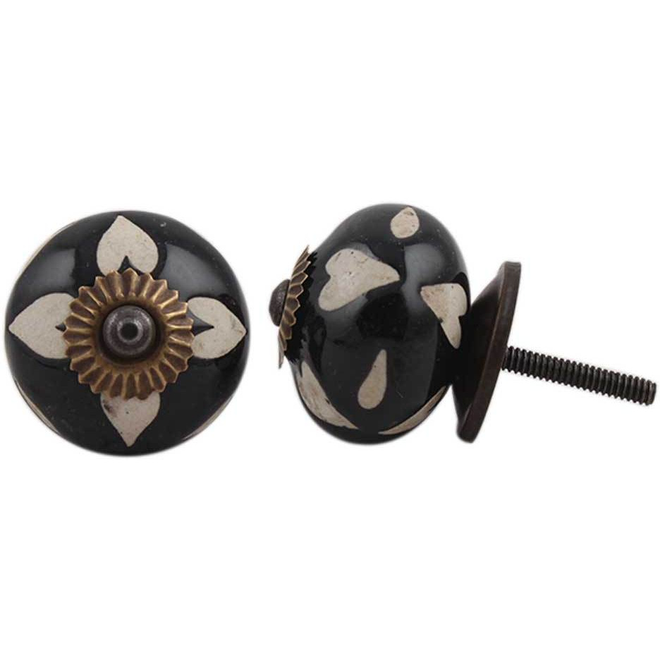IndianShelf Handmade 6 Piece Ceramic Black Etched Decorative Dresser Knobs/Cabinet Pulls
