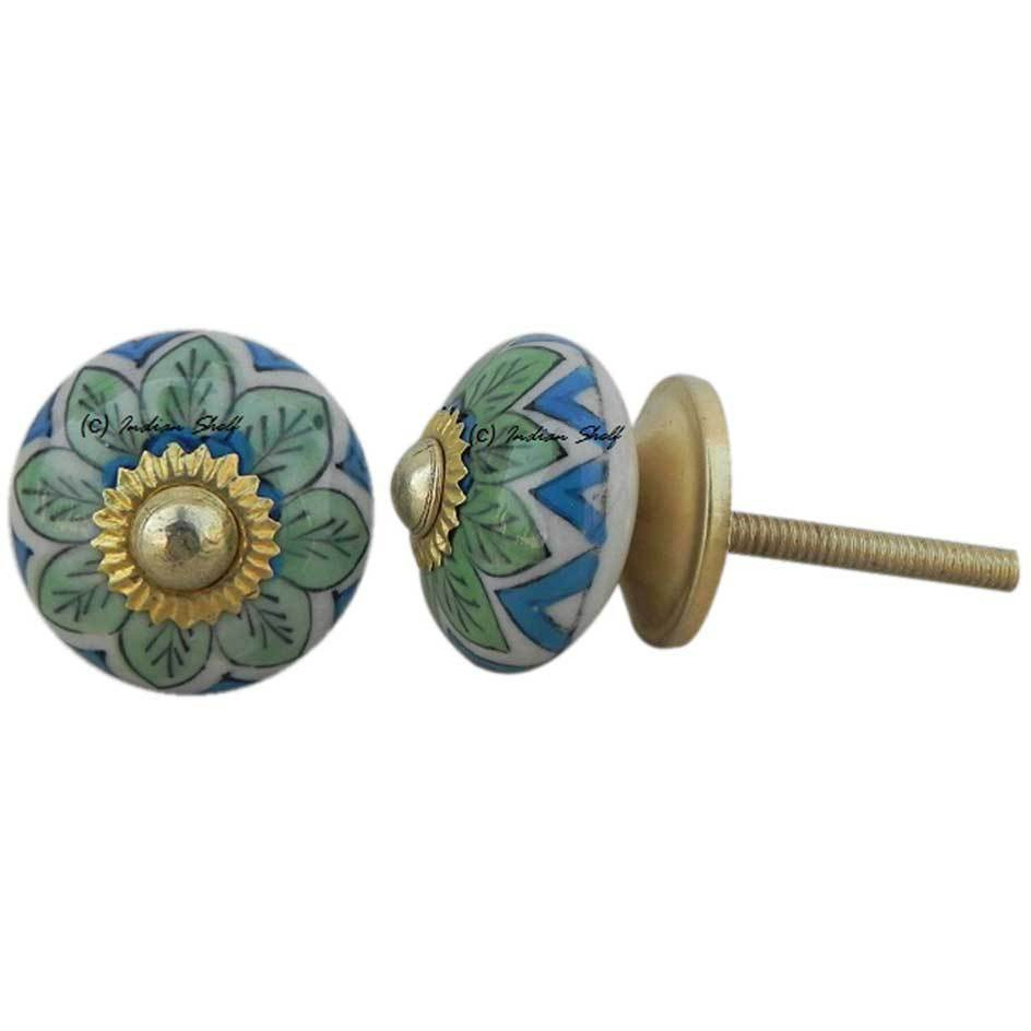 IndianShelf Handmade 6 Piece Ceramic Green Floral Vintage Furniture Knobs/Wardrobe Pulls