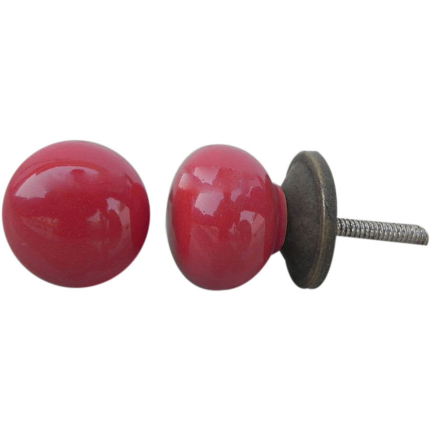 IndianShelf Handmade 6 Piece Ceramic Red Solid Decorative Dresser Knobs/Cabinet Pulls