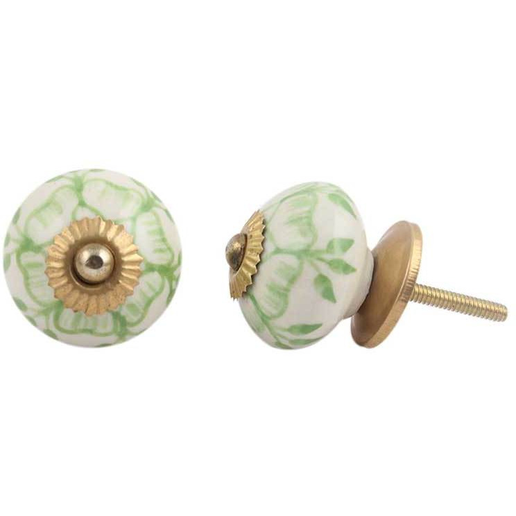 IndianShelf Handmade 6 Piece Ceramic Green Buttercup Vintage Furniture Knobs/Wardrobe Pulls