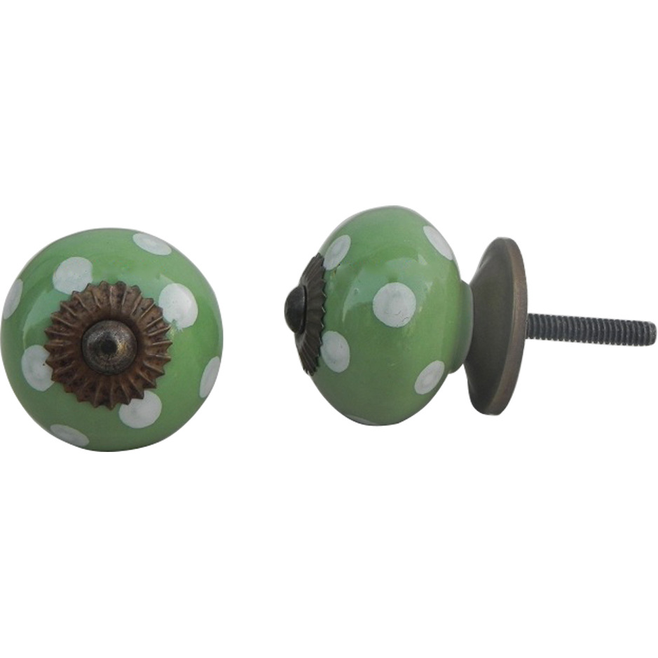 IndianShelf Handmade 6 Piece Ceramic Green Polka Dot Decorative Dresser Knobs/Cabinet Pulls