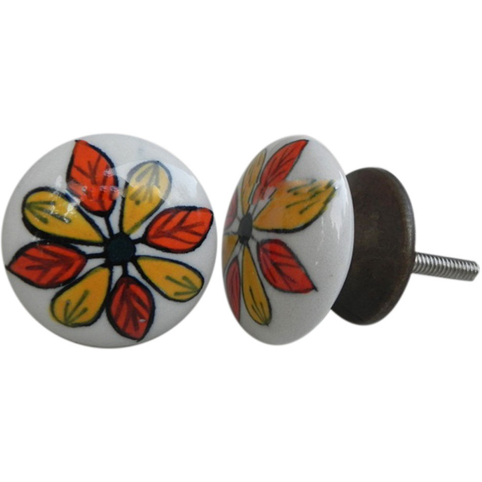 IndianShelf Handmade 6 Piece Ceramic Multicolor Floral Flat Decorative Dresser Knobs/Cabinet Pulls