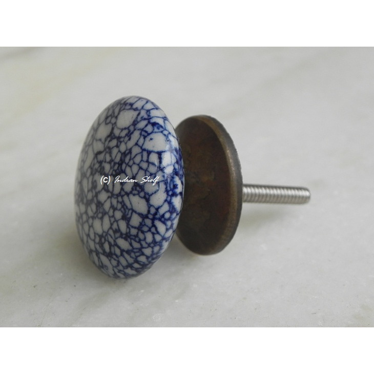 IndianShelf Handmade 6 Piece Ceramic Blue Flat Crackle Vintage Furniture Knobs/Wardrobe Pulls