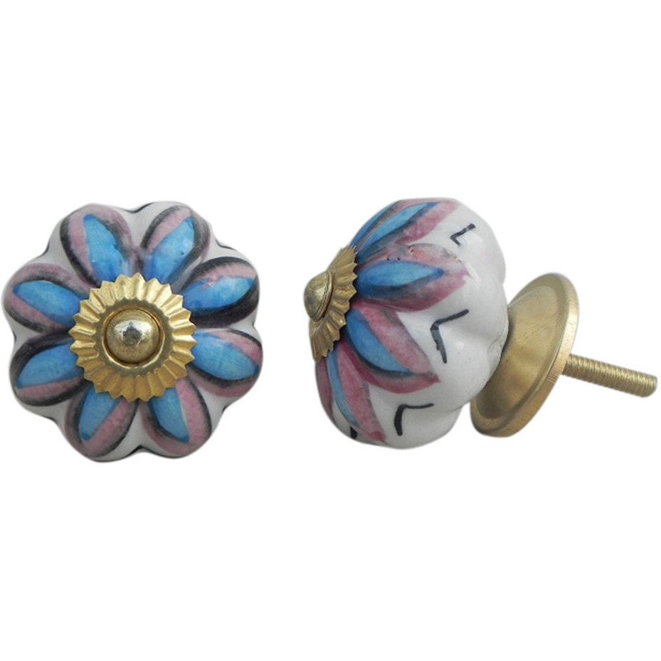 IndianShelf Handmade 6 Piece Ceramic Multicolor Osteospermum Floral Vintage Furniture Knobs/Wardrobe Pulls