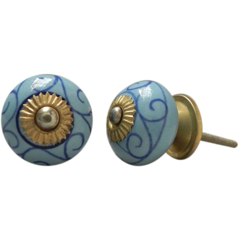 IndianShelf Handmade 6 Piece Ceramic Blue Floral Vintage Furniture Knobs/Wardrobe Pulls