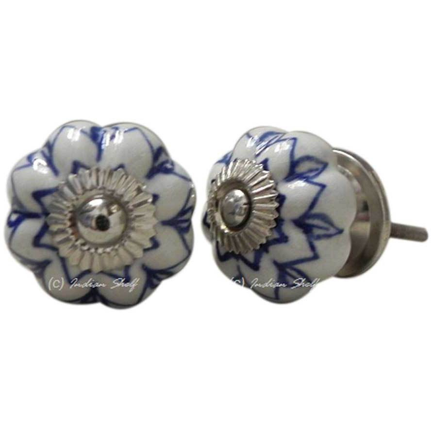 IndianShelf Handmade 6 Piece Ceramic Blue Flower Decorative Dresser Knobs/Cabinet Pulls