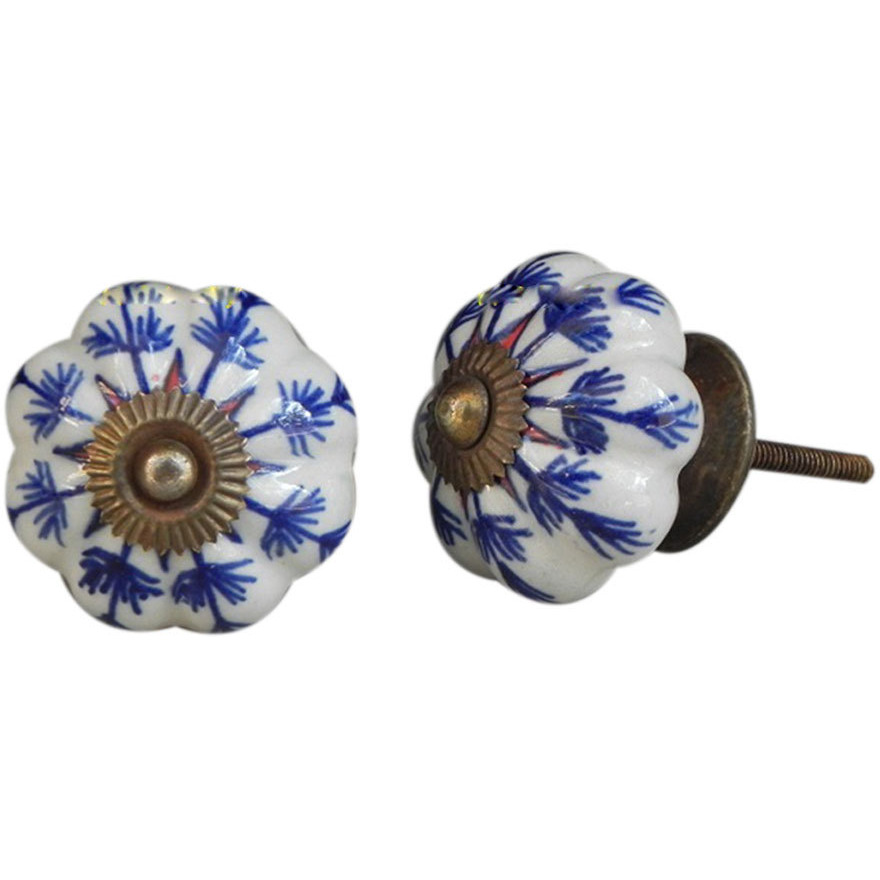 IndianShelf Handmade 6 Piece Ceramic Blue Long Leaf Vintage Furniture Knobs/Wardrobe Pulls
