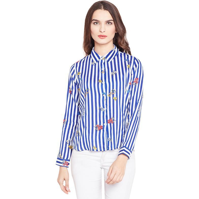 Blue and White Floral Striped Casual Shirt-L