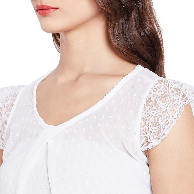 White Swiss Dot Chiffon Top With Buttons On The Back And Lace-S