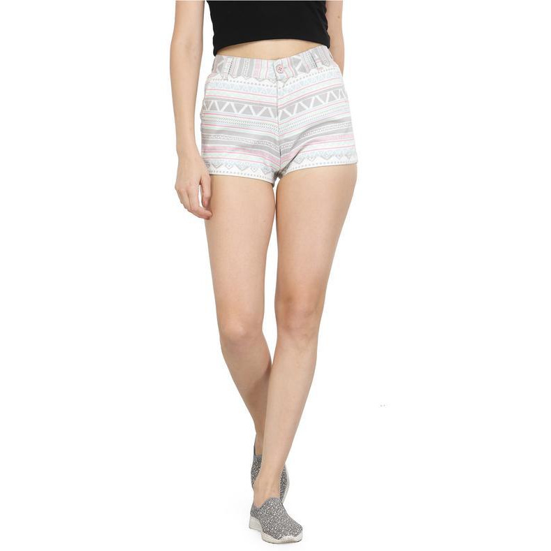 White and grey cotton printed shorts-32