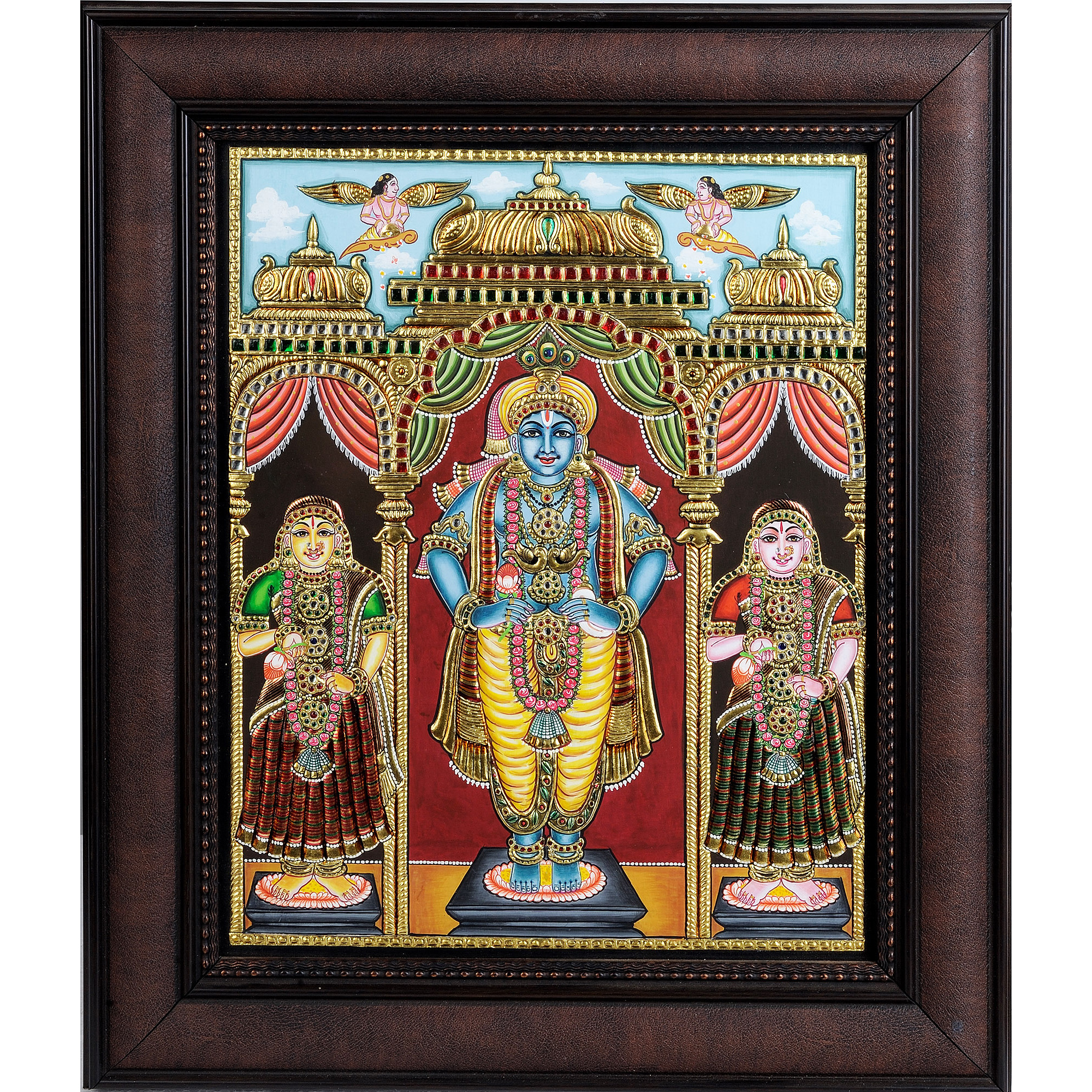 Shri Krishna with Rukmini and Satyabhama (Framed)