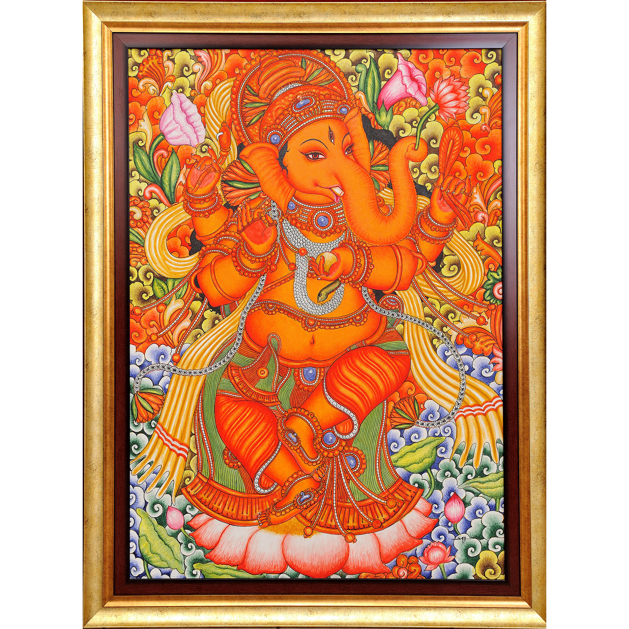 Lord Ganesha Dancing on Lotus (Framed)