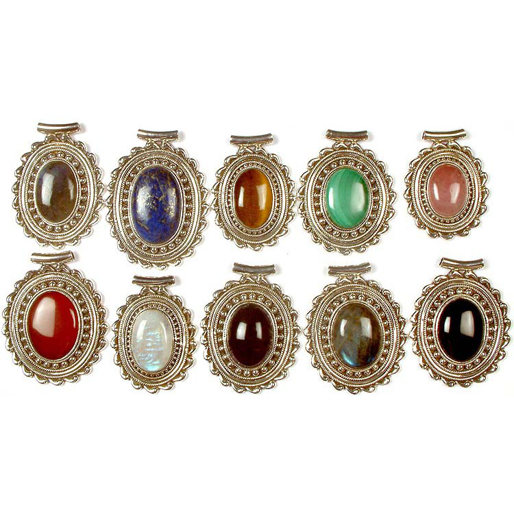 Lot of Ten Oval Gemstone Pendants<br>(Labradorite, Lapis Lazuli, Tiger Eye, Malachite, Rose Quartz, Carnelian, Rainbow Moonstone, Amethyst, Labradorite & Black Onyx)