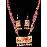 Pink Beaded Necklace and Earrings Set with Dangling Pendant