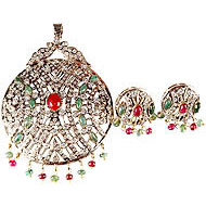 Ruby and Emerald Victorian Pendant with Twin Peacocks Atop and Earrings