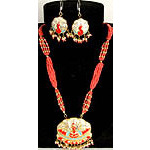 Orange Peacock Necklace and Earrings Set with Beads