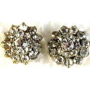 Victorian Post Earrings Studded with Crystals