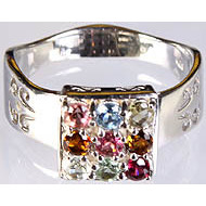 Multi-color Ring of Faceted Tourmaline