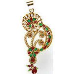 Stylized Paisley Polki Pendant with Faux Ruby-Emeralds