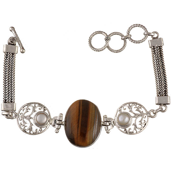 Tiger Eye Bracelet with Twin Pearl