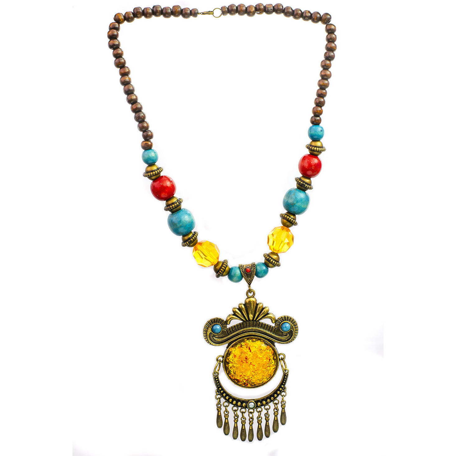 Multicolor Beaded Necklace with Dangles
