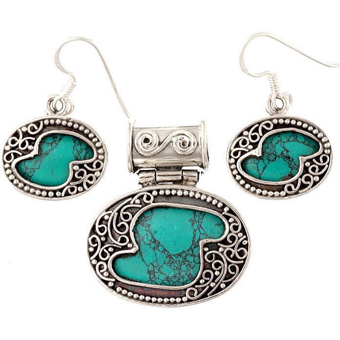 Spider's Web Turquoise Pendant with Earrings Set