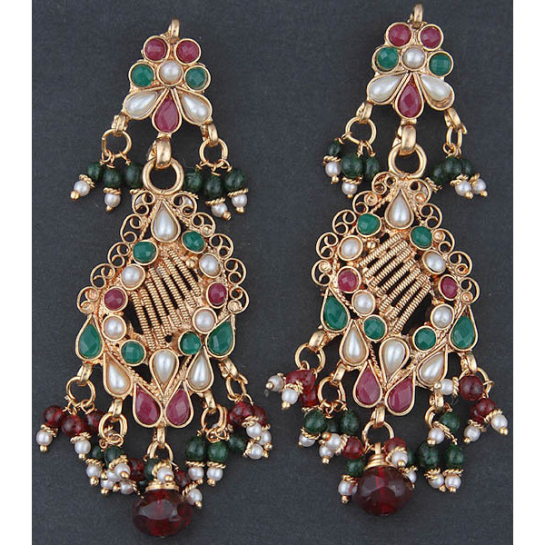 Polki Earrings with Faux Ruby, Emerald and Pearl
