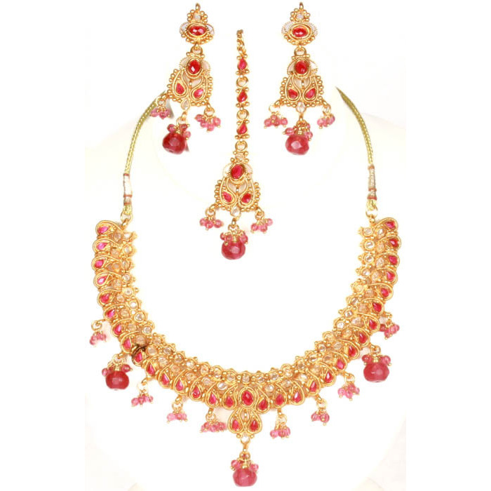 Rani Polki Necklace Set with Cut Glass