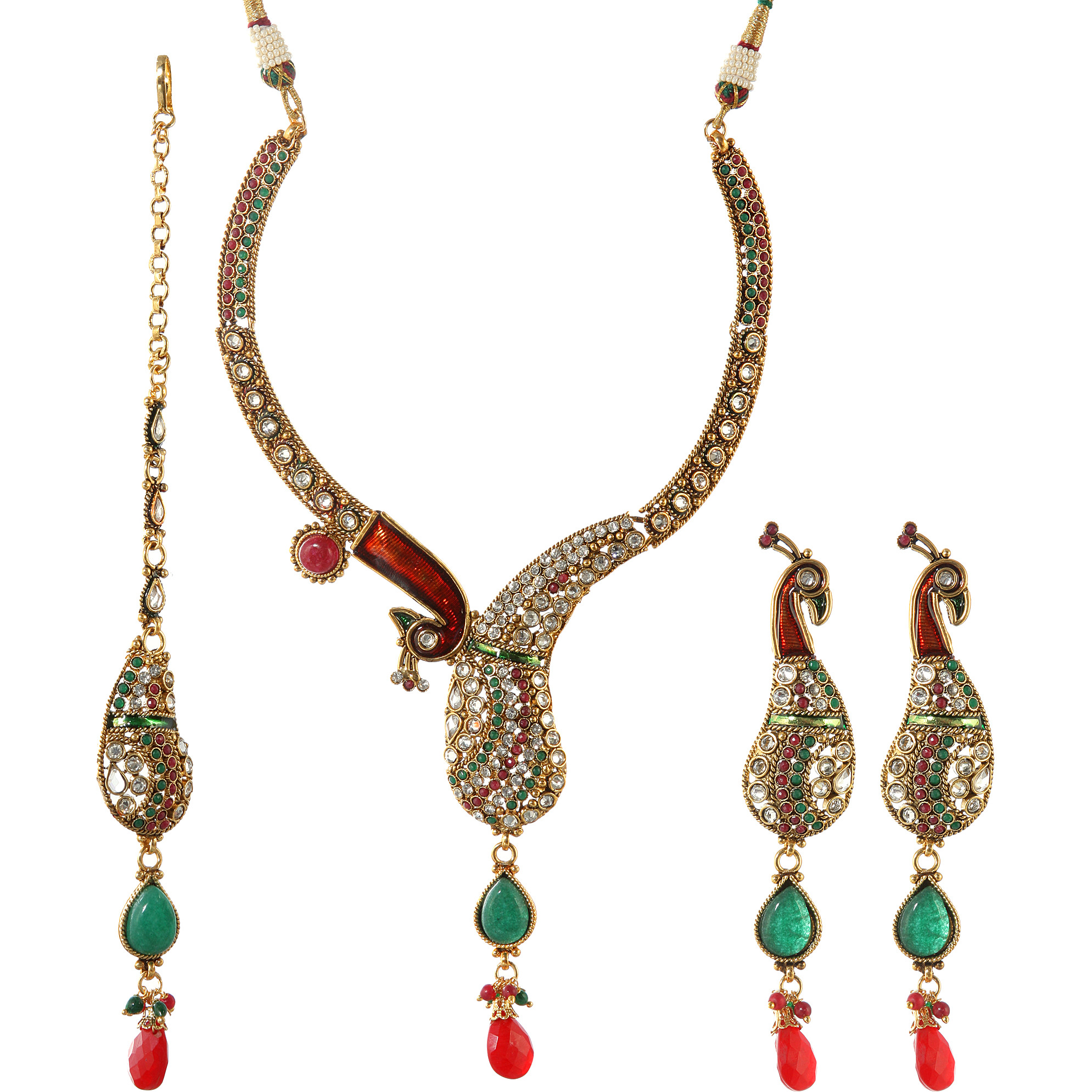 Meenakari Peacock Necklace Set with Faux Ruby and Emerald