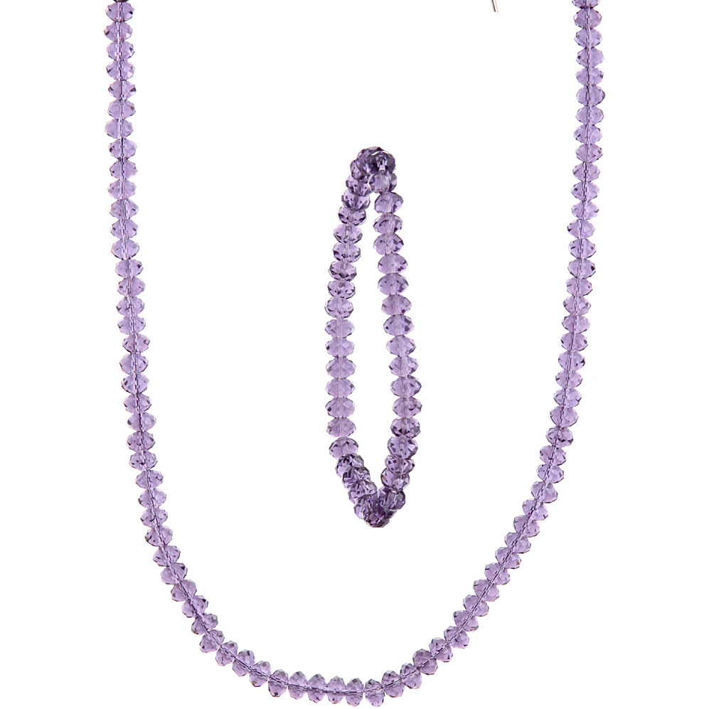 Purple Necklace and Stretch Bracelet Set