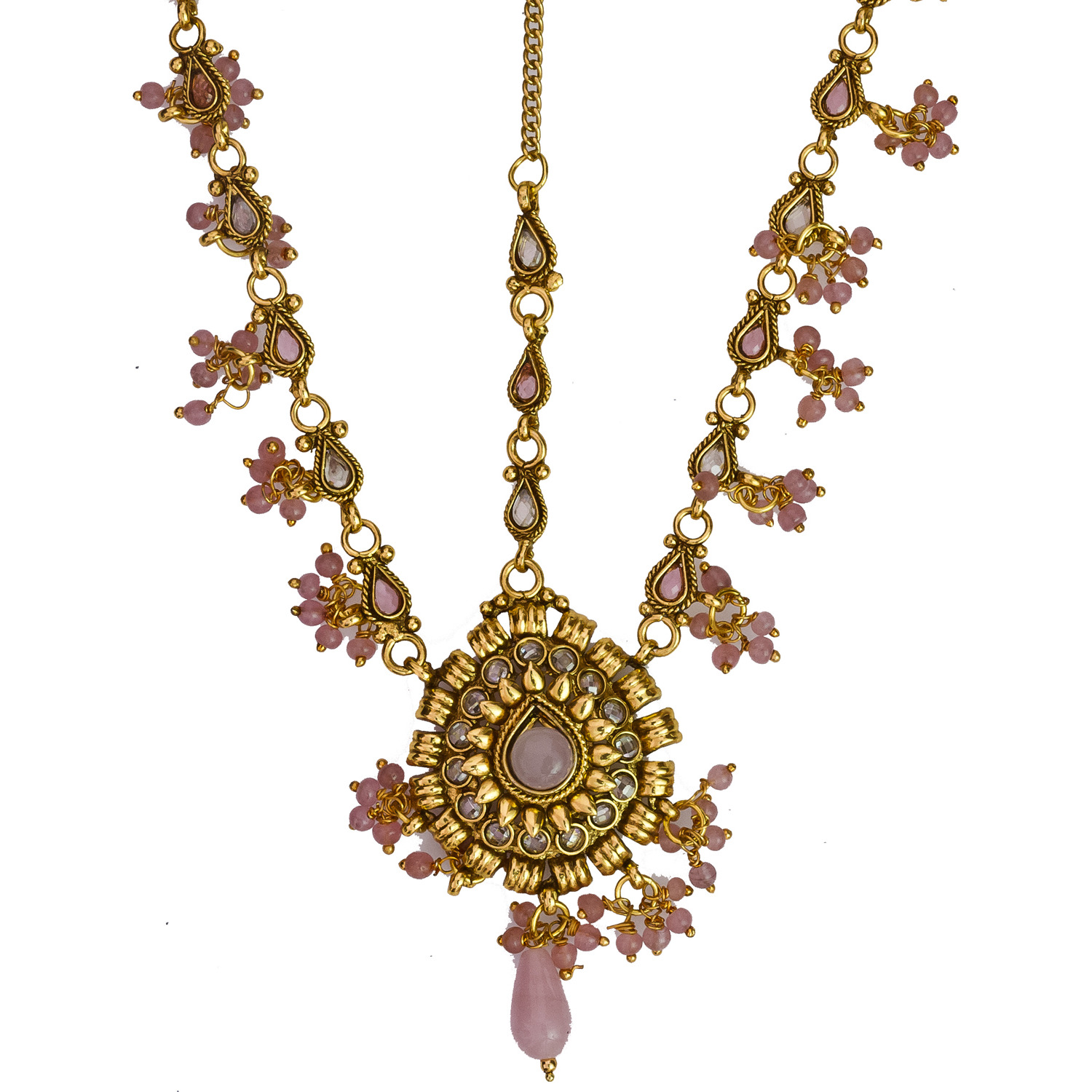 Pink Matha-Patti with Cut Glass - jeweled-hair-ornament