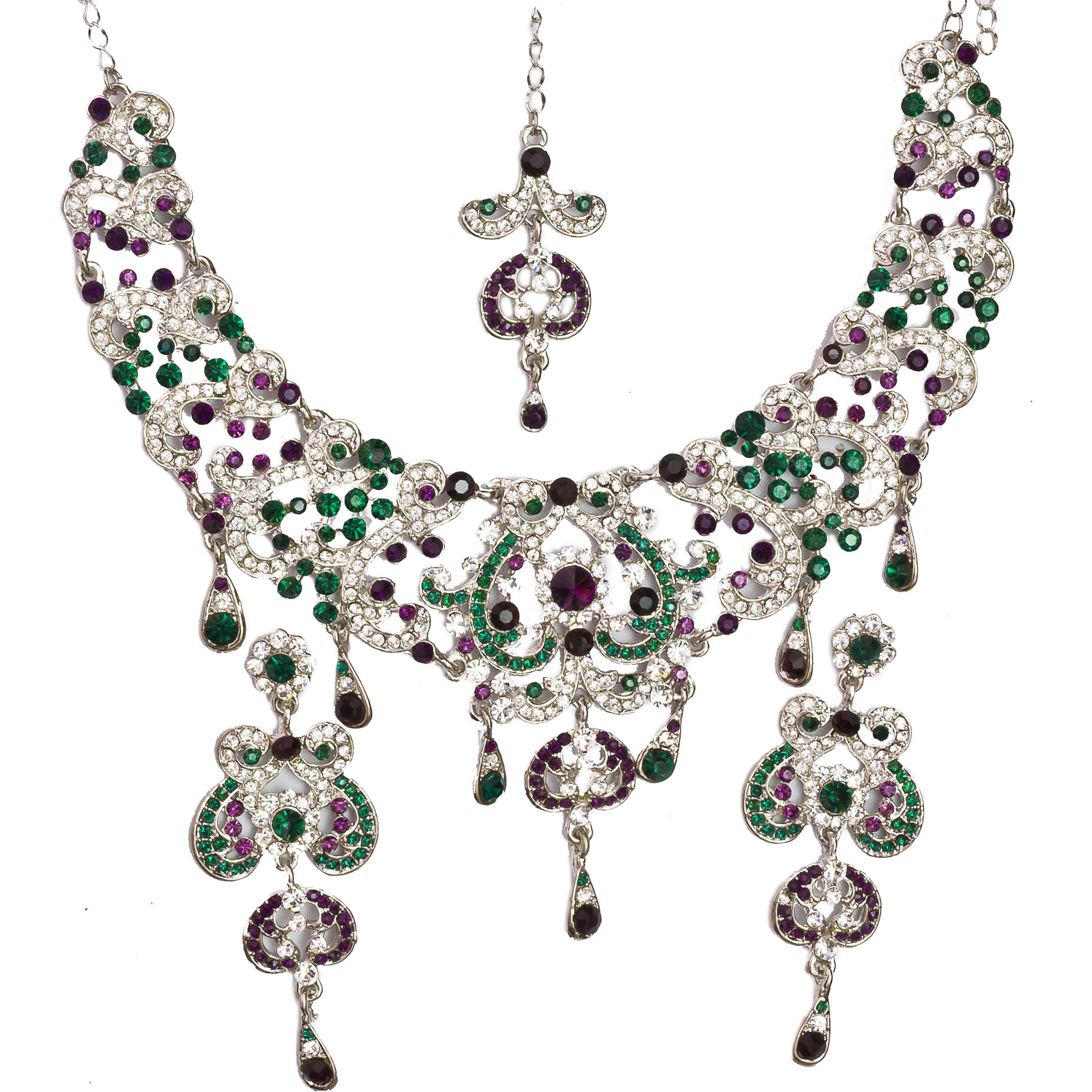 Tri-Color Valentine Necklace with Earrings and Mang-Tika