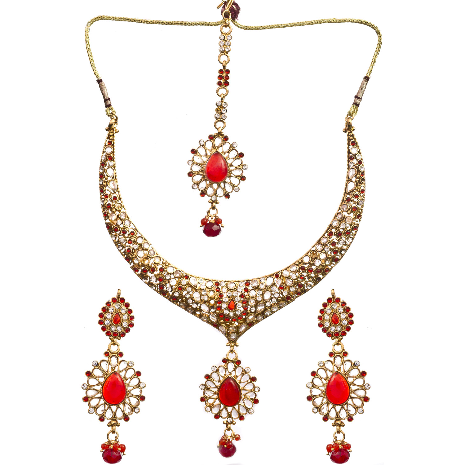 Red-Color Polki Necklace Set with Mang Tiks