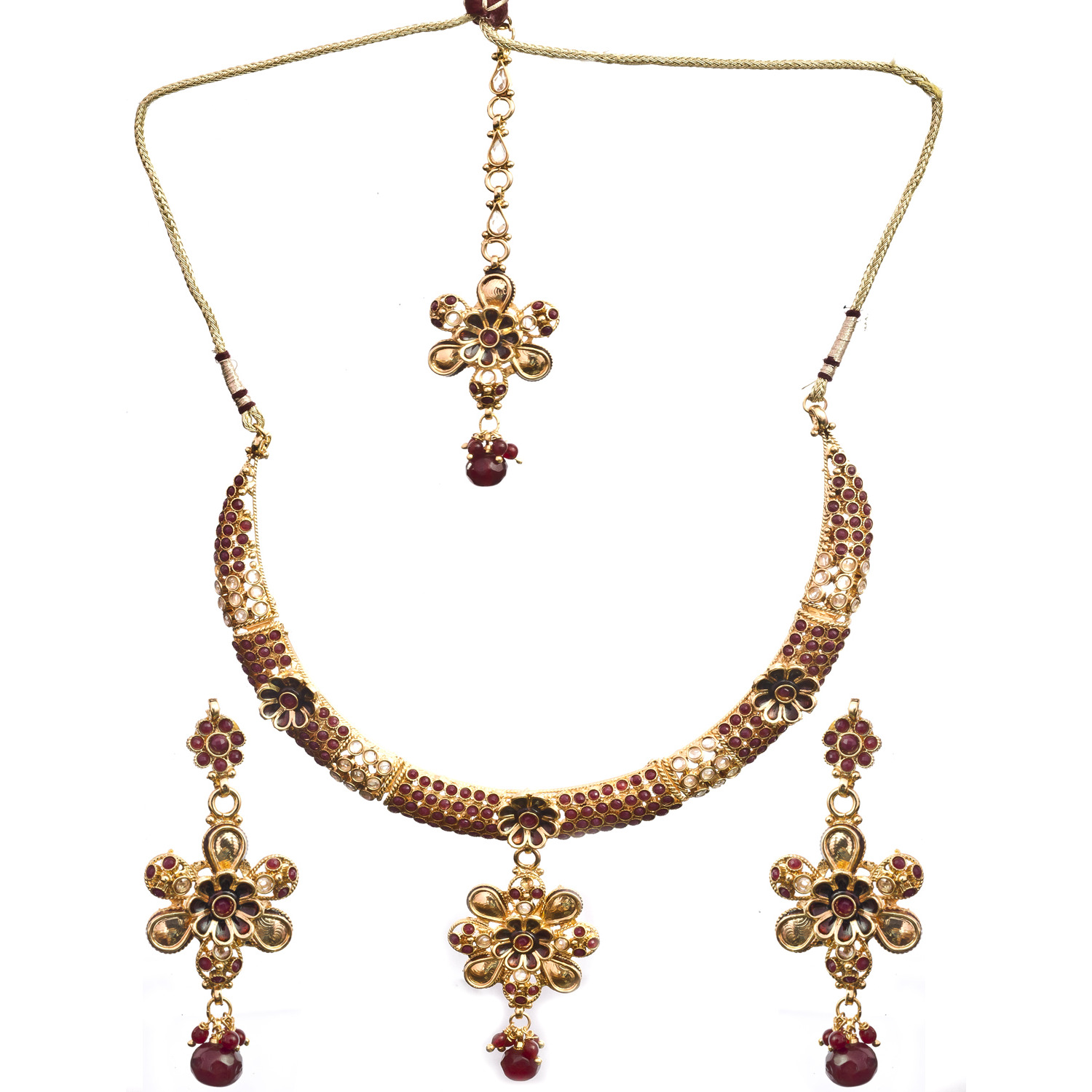 Polki Floral Necklace Set with Mang Tika