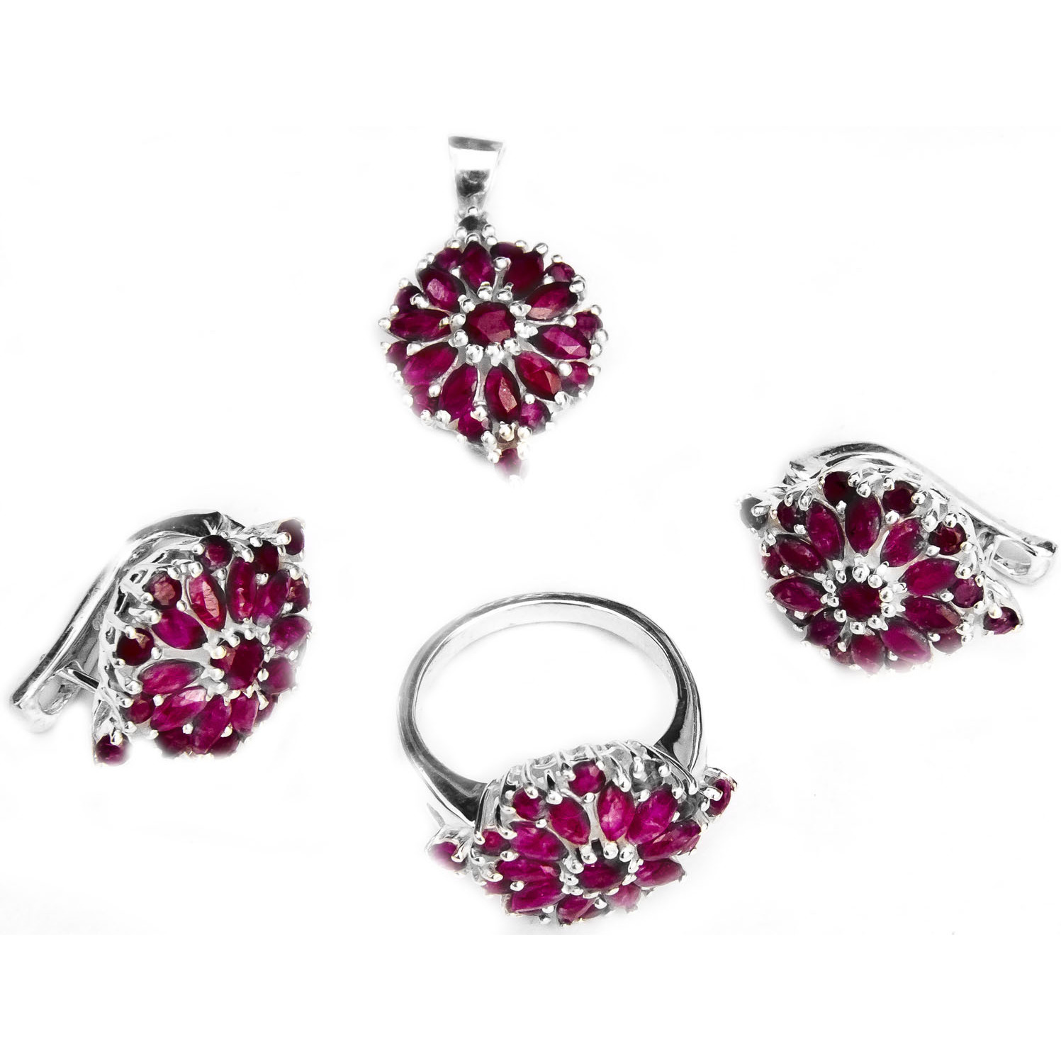 Faceted Ruby Pendant with Earrings and Ring Set