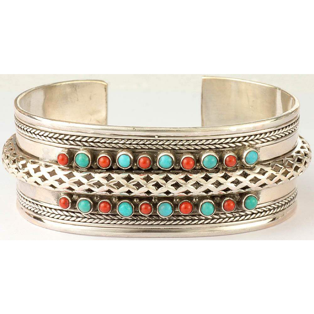 Turquoise and Coral Cuff  Bracelet