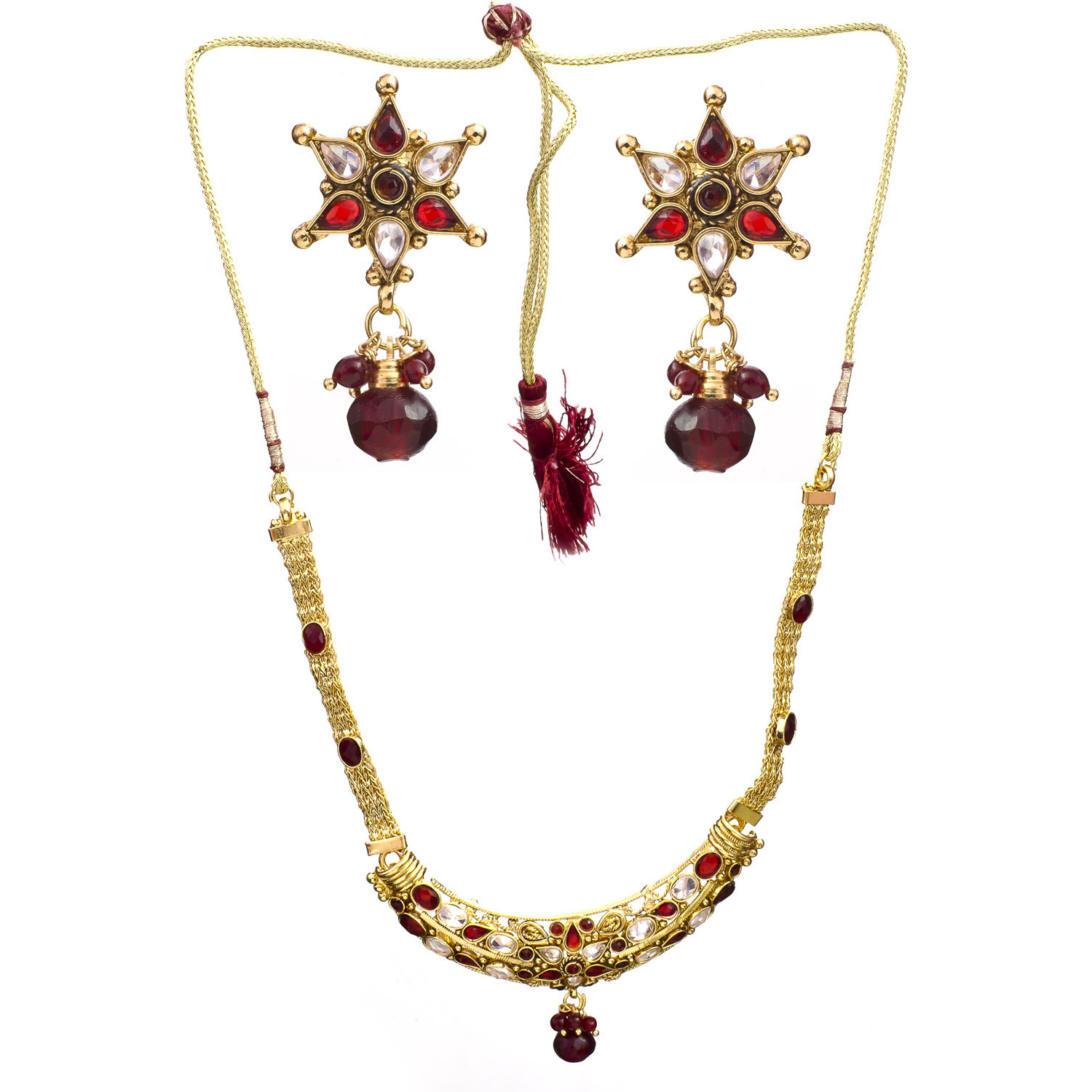 Maroon Polki Necklace Set with Cut Glass