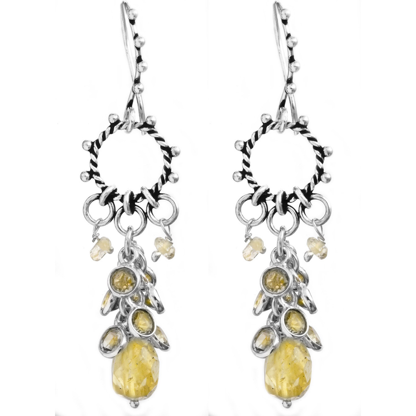 Faceted Citrine Hoop Chandelier Earrings